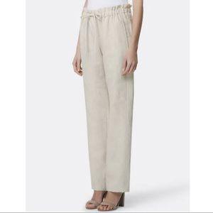 TAHARI High Waist Paperbag Linen Straight Leg Pant